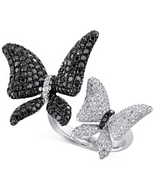 EFFY® Caviar Black and White Diamond (2-1/5 ct. t.w.) Butterfly Ring in 14k White Gold
