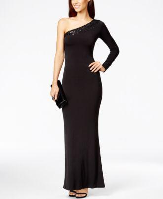 Black One Shoulder Gown by Calvin Klein