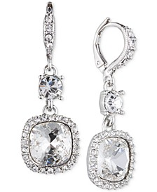 Cushion-Stone and Crystal Drop Earrings