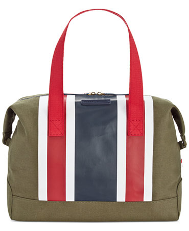 tommy hilfiger th stripes printed canvas large weekender handbags accessories macy 39 s. Black Bedroom Furniture Sets. Home Design Ideas