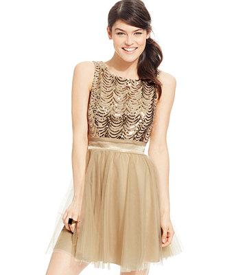 Trixxi® Juniors' Gold Sequin Party Dress 26
