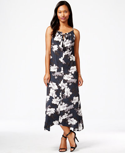 Maison Jules Printed Asymmetrical Maxi Dress, Only at Macy's