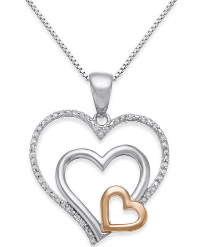 Diamond Nested Heart Pendant Necklace (1/10 ct. t.w.) in Sterling Silver and 14k Gold