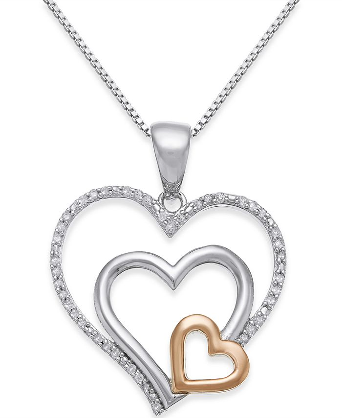 Macy's - Diamond Nested Heart Pendant Necklace (1/10 ct. t.w.) in Sterling Silver and 14k Gold