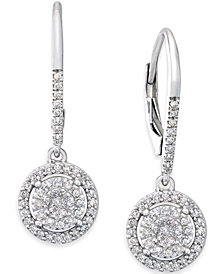 Diamond Cluster Drop Earrings (1/3 ct. t.w.) in Sterling Silver