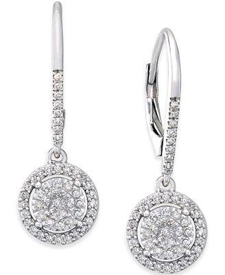 Diamond Cluster Drop Earrings (1/3 ct. t.w.) in Sterling ...