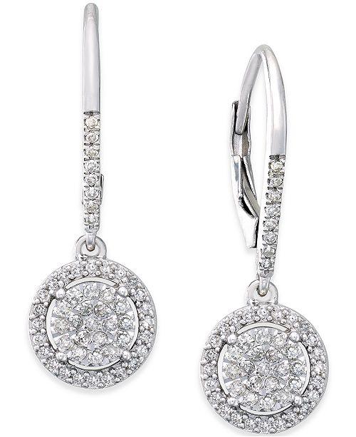Diamond Cluster Drop Earrings (1/3 ct. t.w.) in Sterling Silver