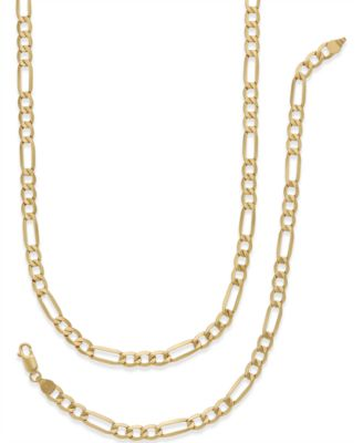 Italian Gold Mens Chain Necklace and Bracelet Set in 10k Gold