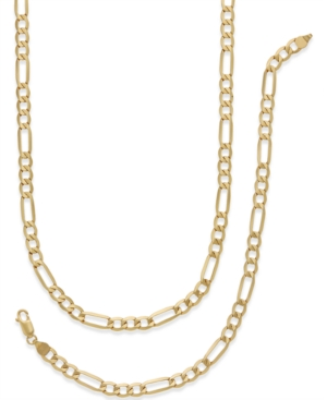 Italian Gold Men's Chain Necklace and Bracelet Set in 10k Gold
