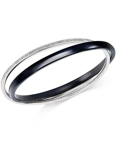 Diamond Interlocking Ceramic Bangle Bracelet (9/10 ct. t.w.) in Sterling Silver
