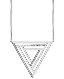 Geo by EFFY Diamond Triangle Pendant Necklace (1/4 ct. t.w.) in Sterling Silver