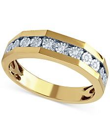 beautiful beginnings mens diamond wedding ring 18 ct tw in 14k - Macy Wedding Rings
