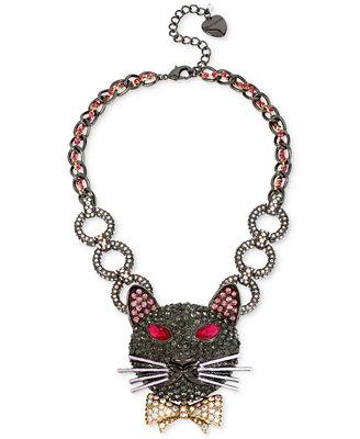 betsey johnson two tone pav 233 cat collar necklace jewelry