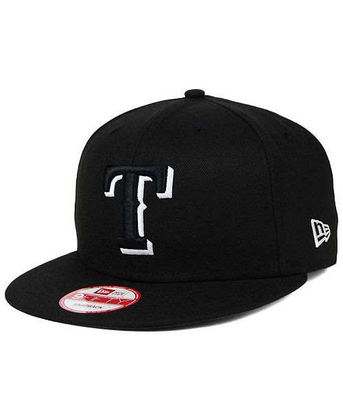 New Era Texas Rangers Black White 9FIFTY Snapback Cap