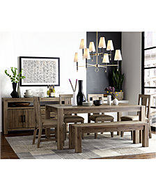 "Canyon 6 Piece Dining Set, Created for Macy's,  (72"" Dining Table, 4 Side Chairs & Bench)"