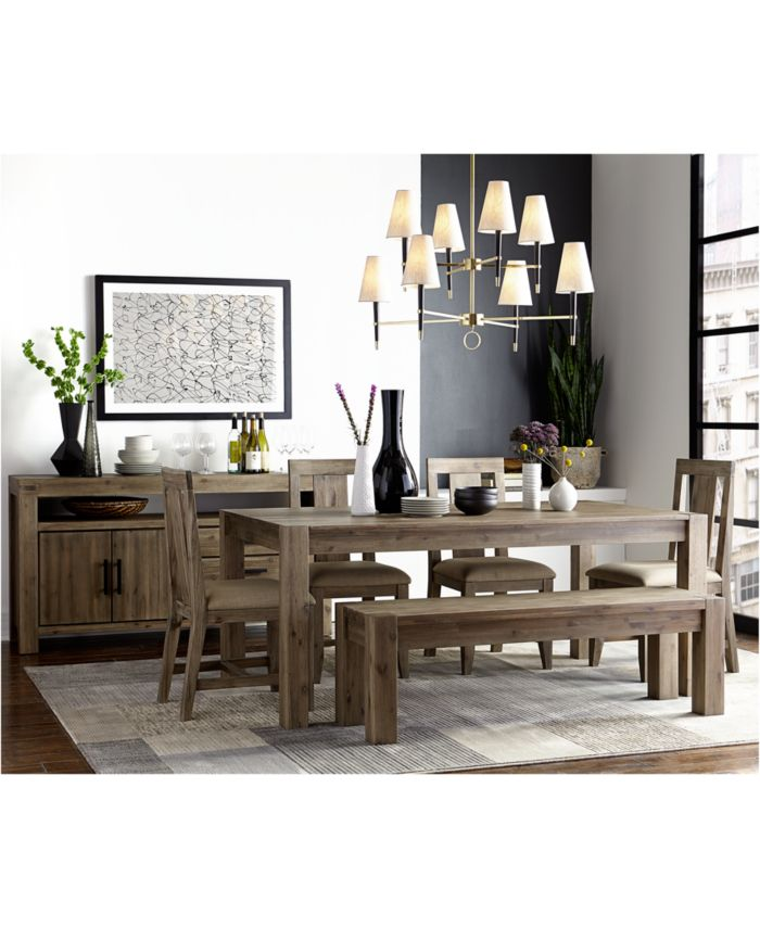"""Furniture Canyon 7 Piece Dining Set, Created for Macy's,  (72"""" Dining Table & 6 Side Chairs) & Reviews - Furniture - Macy's"""