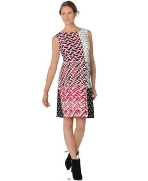 MATERNITY MIXED-PRINT SHEATH DRESS