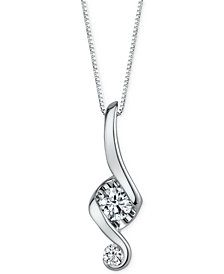 Proud Mom Diamond Swirl Pendant Necklace (1/5 ct. t.w.) in 14k White Gold