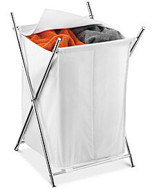Honey-Can-Do Chrome 2-Compartment Folding Hamper with Cover