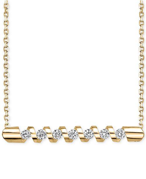 da5b7b12d Sirena Energy Diamond Twist Bar Necklace (1/4 ct. t.w.) in 14k Gold ...
