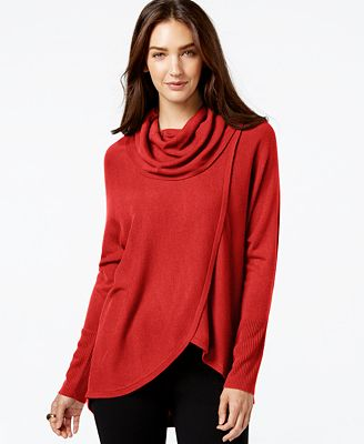 NY Collection Draped Cowl-Neck Sweater - Sweaters - Women - Macy's