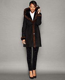 The Fur Vault Mink-Fur-Trim Hooded Shearling Lamb Coat