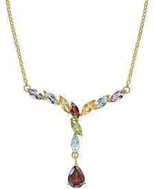 Multi-Gem Drop Y-Necklace (3 ct. t.w.) in 18k Gold over Sterling Silver