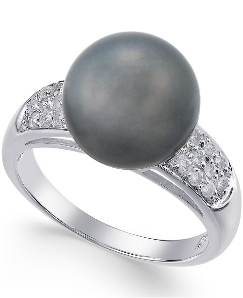 Macy's Cultured Tahitian Pearl (11mm) and Diamond Ring (1/4 ct. t.w.) in 14k White Gold