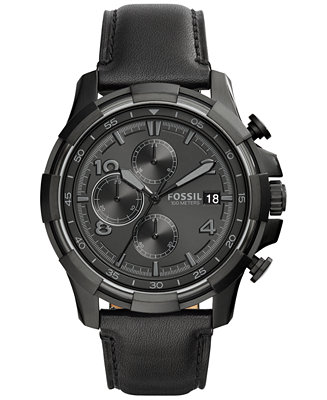 Fossil Men's Chronograph Dean Black Leather Strap