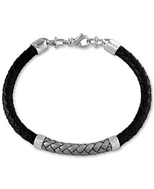 EFFY® Men's Woven Bracelet in Leather and Stainless Steel
