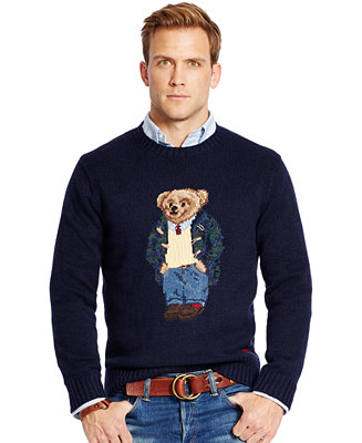 Polo Ralph Lauren Sweaters Men's Clothing & Shoes at Macy's come in all styles and sizes. Shop Polo Ralph Lauren Sweaters for men today! Sweaters Polo Ralph Lauren. Narrow by Color. Blue. Gray. Black. Red. Green. Purple. Brown. See More. Filter; Polo Ralph Lauren Men's Iconic Polo Bear Sweater.