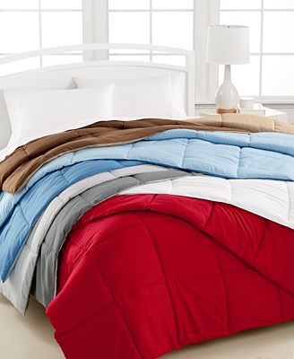 CLOSEOUT! Home Design Down Alternative Comforters in Red ...