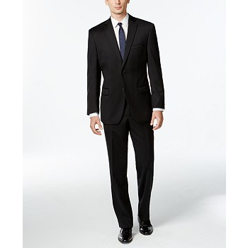 Calvin Klein Black Solid Modern-Fit Wool Suit