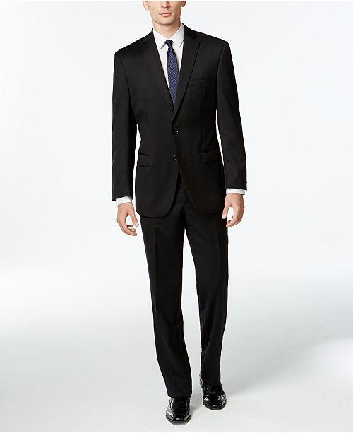38431c2b Black Solid Modern-Fit Suit
