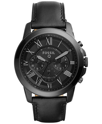 Fossil Men's Chronograph Q Grant Black Leather