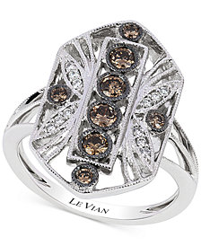 Le Vian Chocolatier® Chocolate Deco Estate™  Diamond (1/2 ct. t.w.) Ring in 14k White Gold