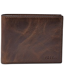 Men's Leather Wallet Derrick RFID-Blocking Bifold with Flip ID