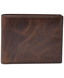 Fossil Men's Leather Wallet Derrick RFID-Blocking Bifold with Flip ID