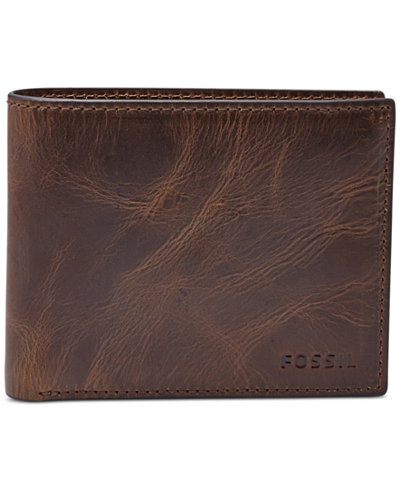0c9268bb6ab95 Fossil Men s Leather Wallet Derrick RFID-Blocking Bifold with Flip ID