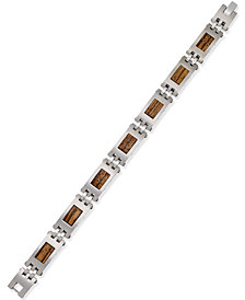Men's Stainless Steel and Wood Link Bracelet