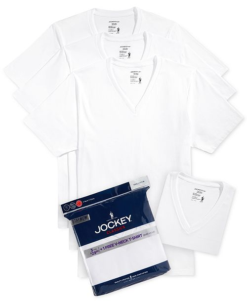 74c8a8687a Jockey Men s Tagless 3-Pack V-Neck T-Shirts + 1 Bonus Shirt