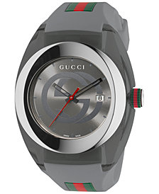 Gucci Sync Unisex Swiss Gray Rubber Strap Watch 46mm YA137109