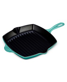 "Enameled Cast Iron 10.25"" Square Grill Pan"