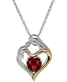 Garnet (1-5/8 ct. t.w.) and Diamond Accent Mother and Infant Pendant Necklace in Sterling Silver and 14k Gold