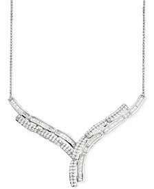"Wrapped In Love Diamond ""Y"" Necklace (2 ct. t.w.) in 14k White Gold, Created for Macy's"