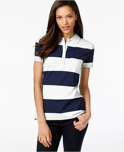 66186ade40 Tommy Hilfiger Rugby Striped Polo Top & Reviews - Tops - Women - Macy's