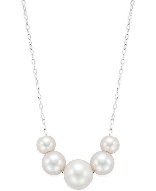 Macy's Cultured Freshwater Pearl Slide Necklace (6, 8 and 10mm) in Sterling Silver