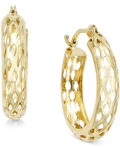 Diamond-Cut Mesh Hoop Earrings in 10k Gold