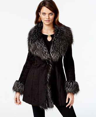 INC International Concepts Faux-Suede Faux-Fur-Trim Coat, Created ...