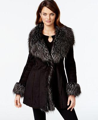 INC International Concepts Faux-Suede Faux-Fur-Trim Coat, Created ...